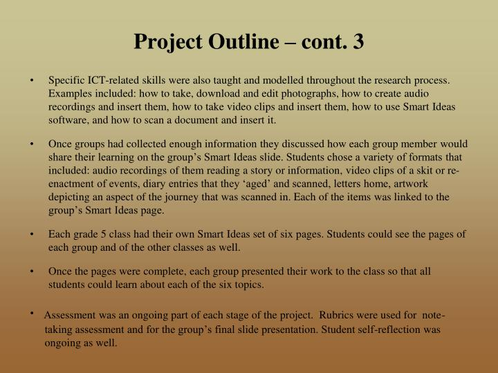 Project Outline – cont. 3