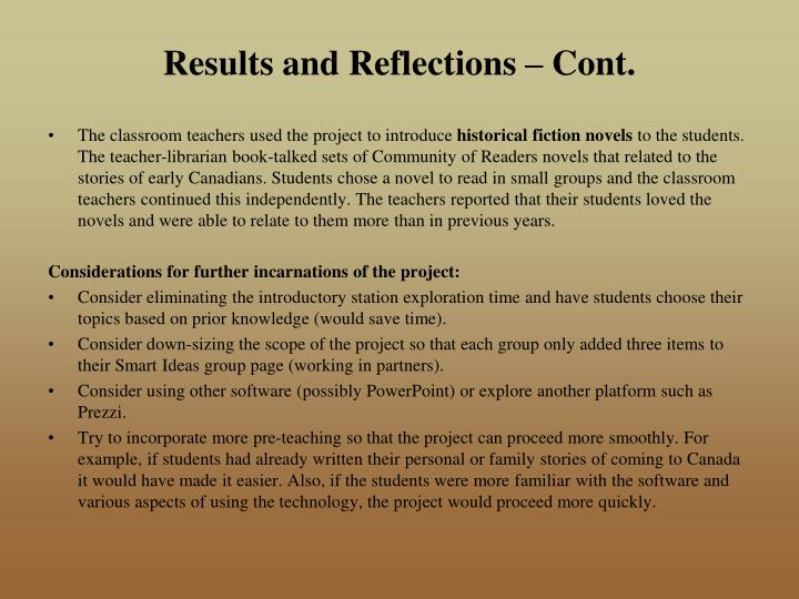 Results and Reflections – Cont.