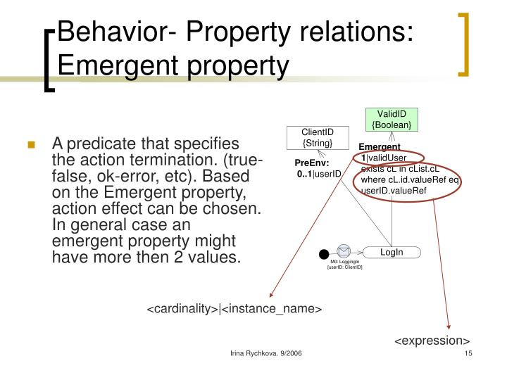 Behavior- Property relations: Emergent property