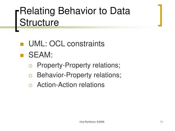 Relating Behavior to Data Structure