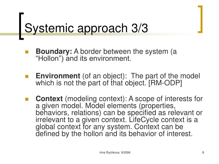 Systemic approach 3/3