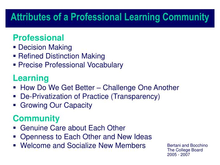 Attributes of a Professional Learning Community