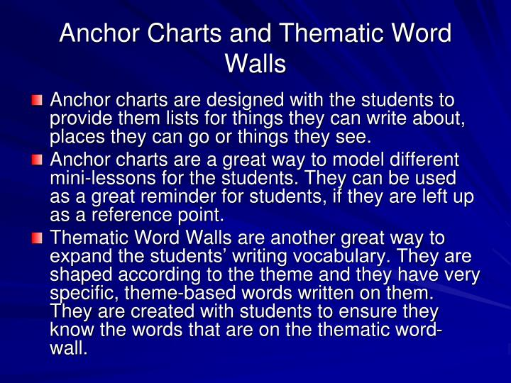 Anchor Charts and Thematic Word Walls