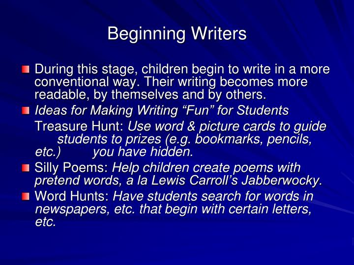 Beginning Writers