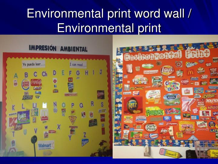 Environmental print word wall / Environmental print