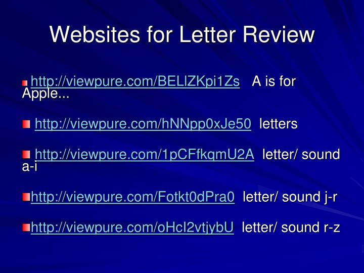 Websites for Letter Review