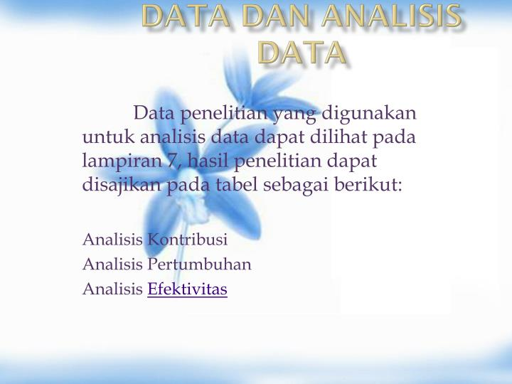 DATA DAN ANALISIS DATA
