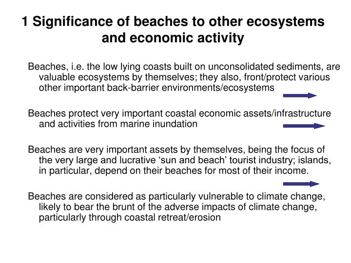 1 significance of beaches to other ecosystems and economic activity