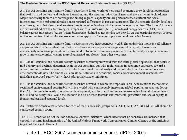 Table 1. IPCC 2007 socioeconomic scenarios (IPCC 2007)