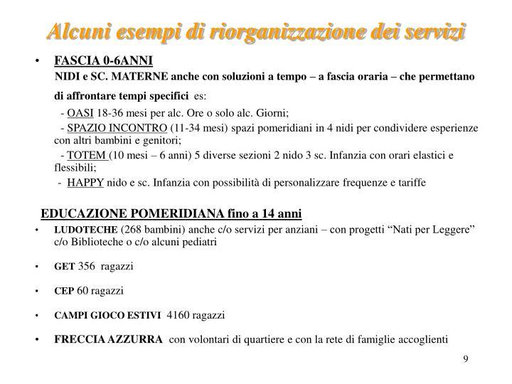 Alcuni esempi di riorganizzazione dei servizi
