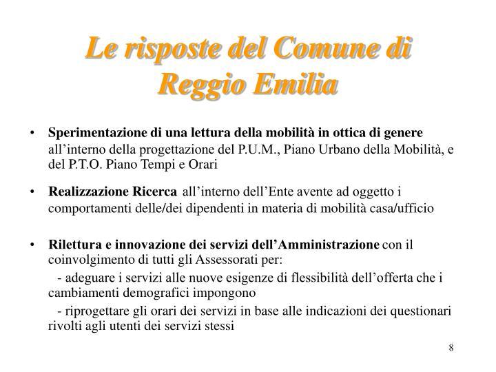 Le risposte del Comune di Reggio Emilia