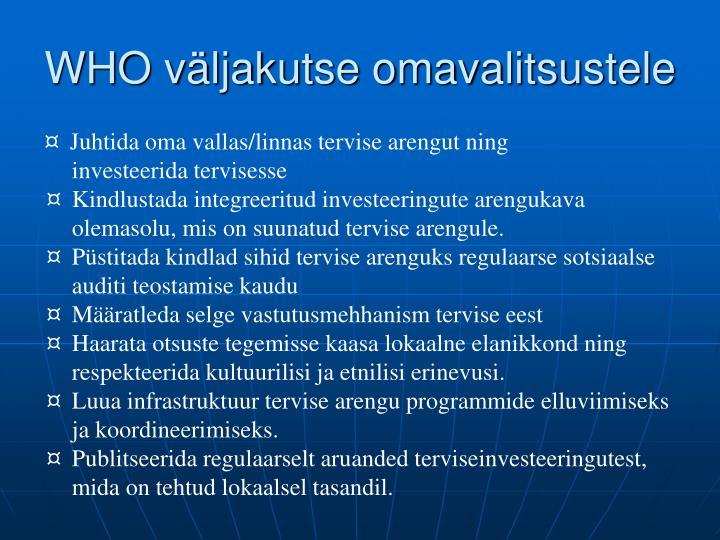 WHO väljakutse omavalitsustele
