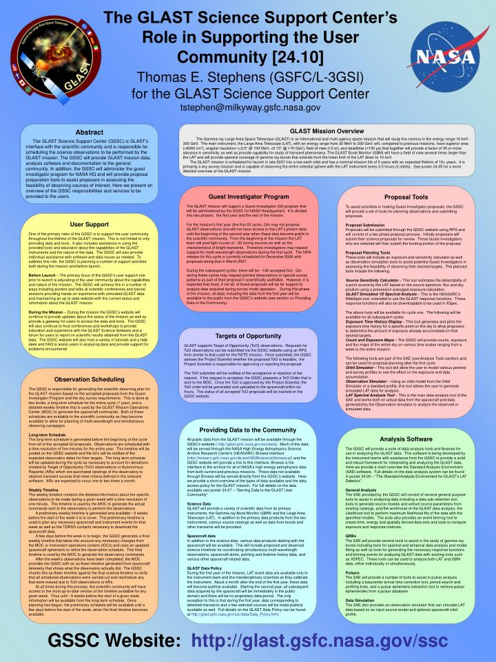 The GLAST Science Support Center's Role in Supporting the User Community [24.10]