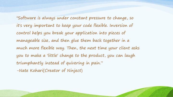 """Software is always under constant pressure to change, so"