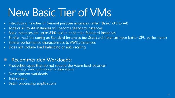 New Basic Tier of VMs