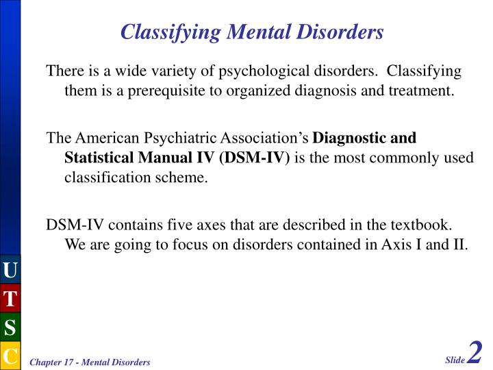 Classifying mental disorders