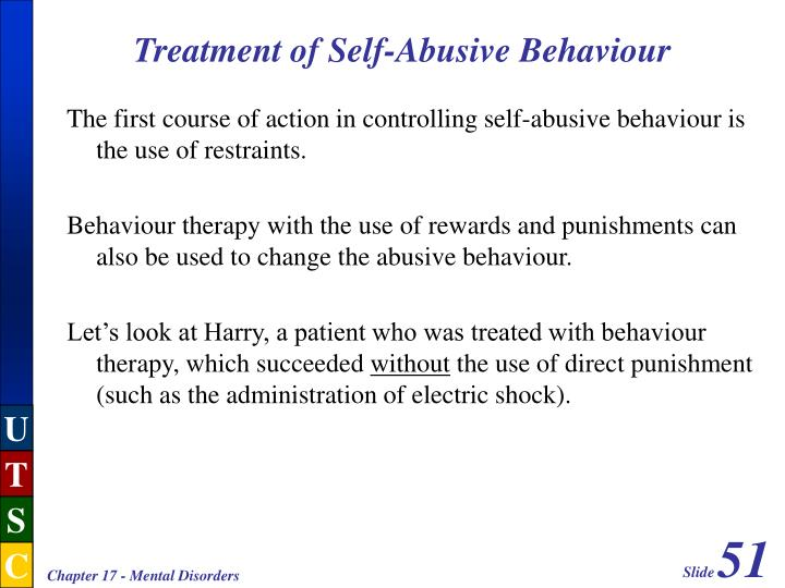 Treatment of Self-Abusive Behaviour