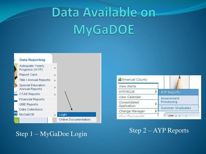 Data Available on MyGaDOE