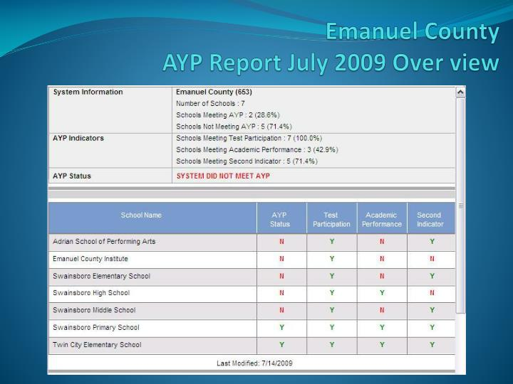 Emanuel county ayp report july 2009 over view