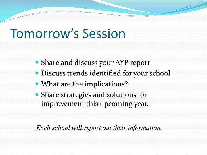 Tomorrow's Session