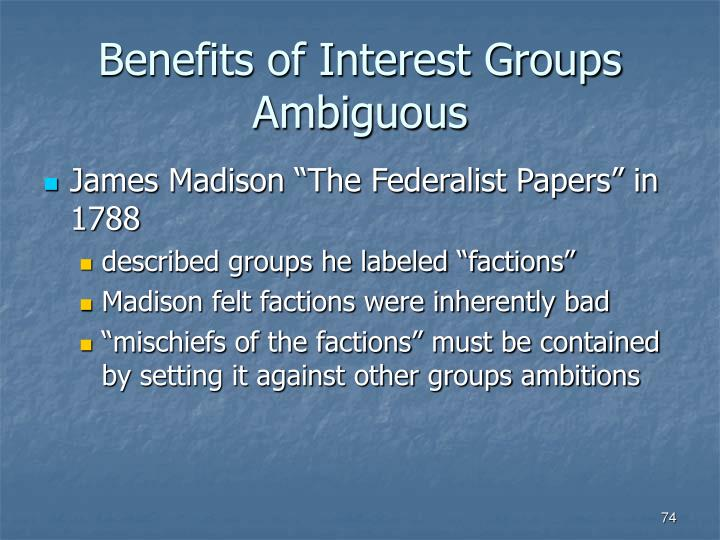 Benefits of Interest Groups Ambiguous