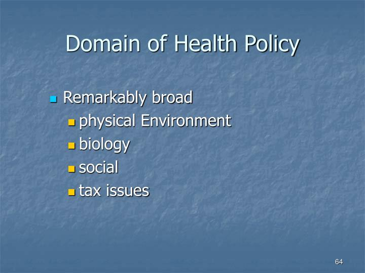Domain of Health Policy