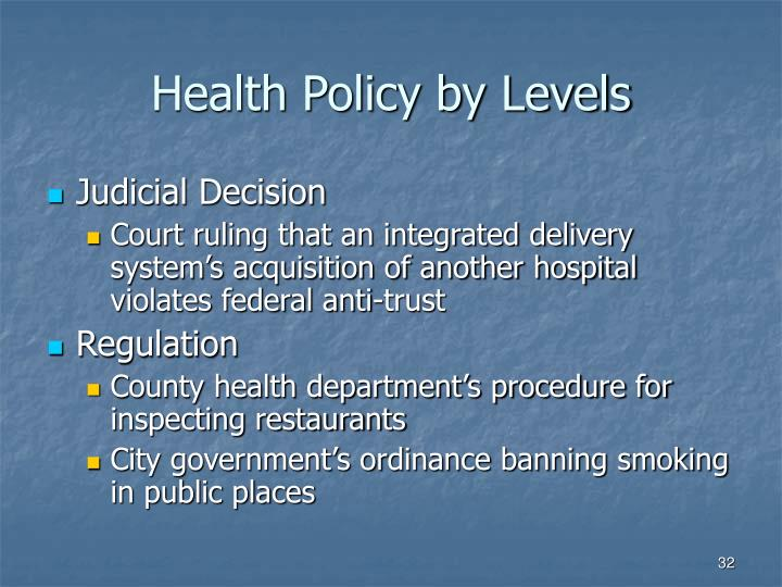 Health Policy by Levels