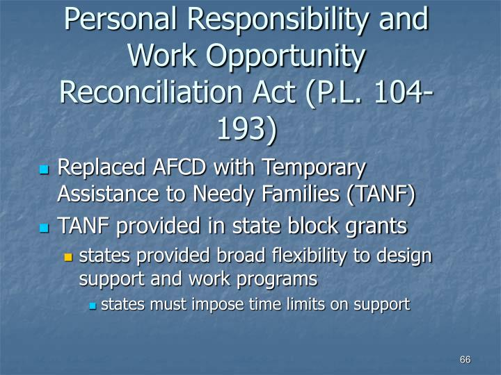 Personal Responsibility and Work Opportunity Reconciliation Act (P.L. 104-193)