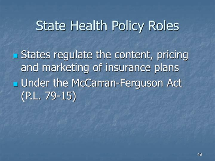 State Health Policy Roles