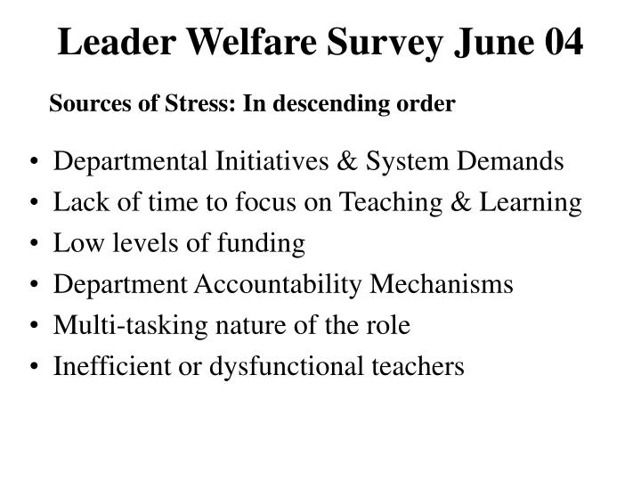 Leader Welfare Survey June 04