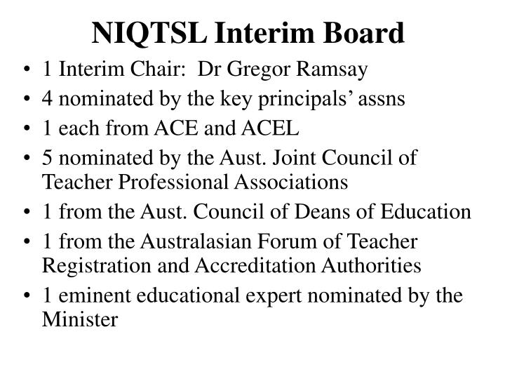 NIQTSL Interim Board