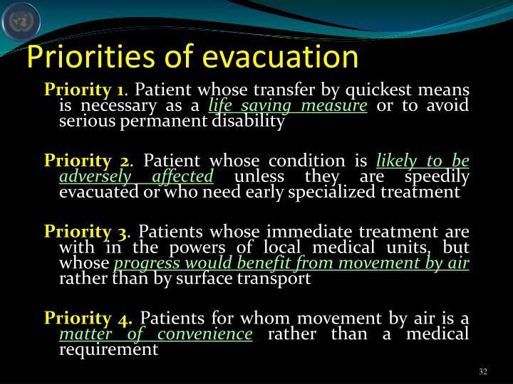 Priorities of evacuation
