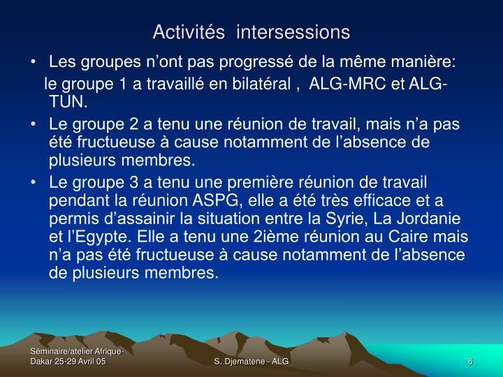 Activités  intersessions