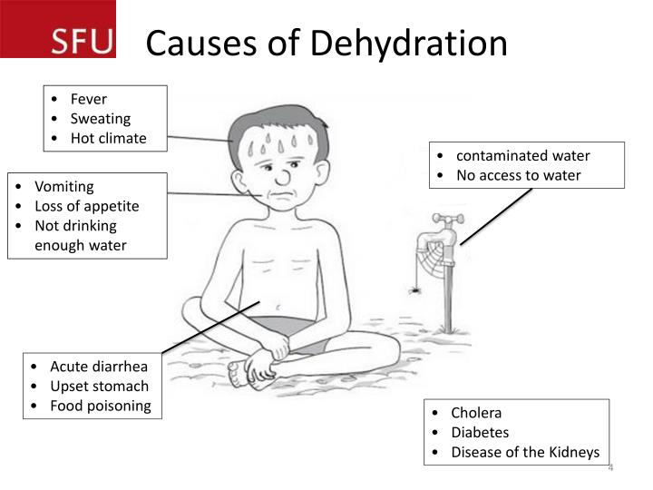 what is dehydration what causes Acute diarrhoeal diseases are among the leading causes of mortality in infants and young children in many developing countries in most cases, death is caused by dehydration.
