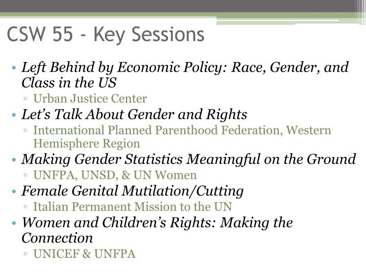 CSW 55 - Key Sessions