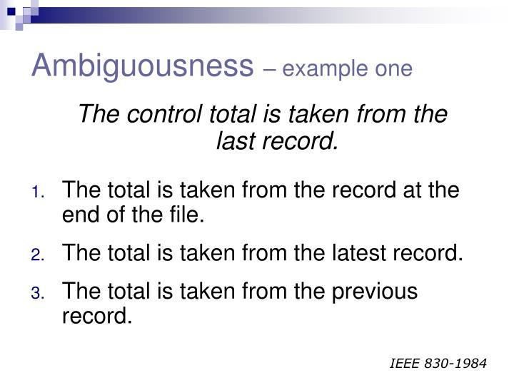 Ambiguousness