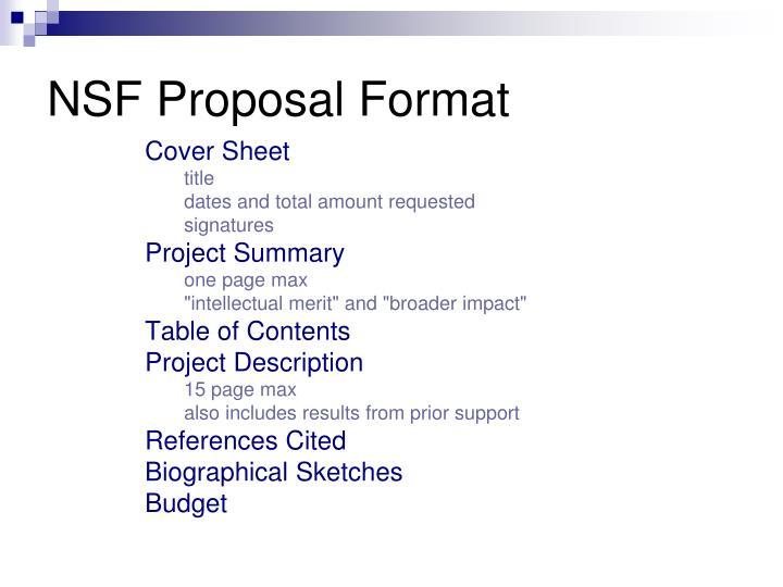 NSF Proposal Format