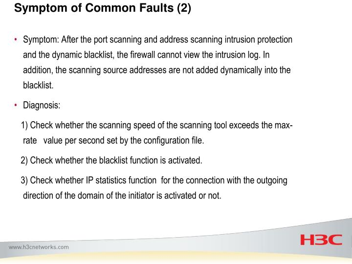 Symptom of Common Faults (2)