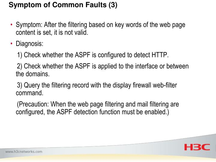 Symptom of Common Faults (3)