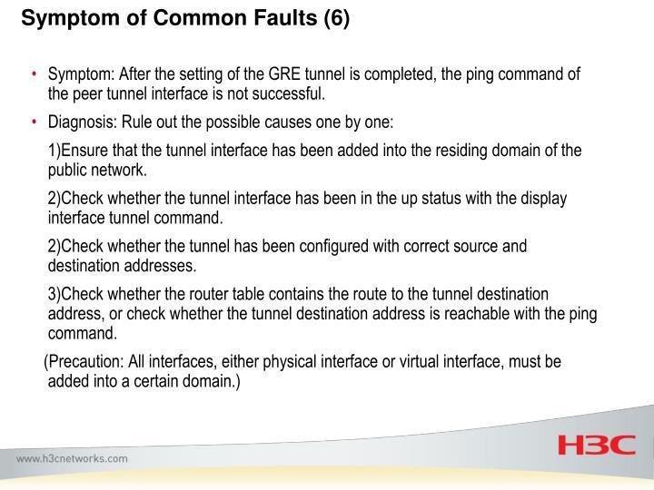 Symptom of Common Faults (6)