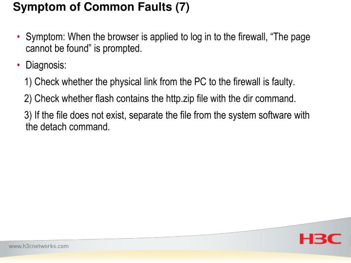 Symptom of Common Faults (7)