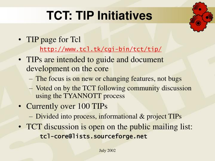 TCT: TIP Initiatives