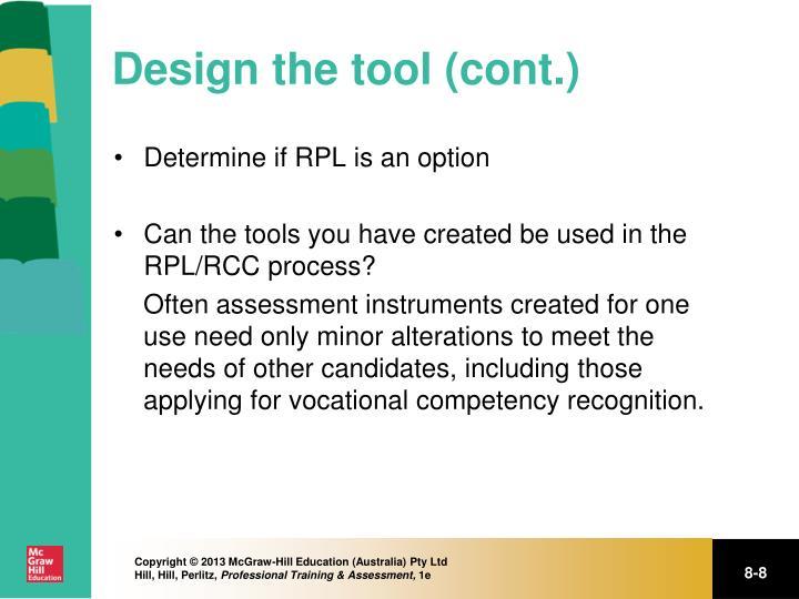 Design the tool (cont.)