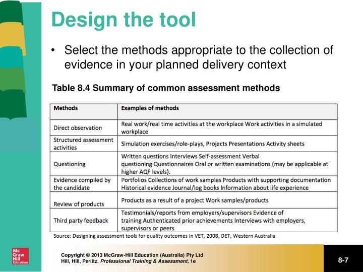 Design the tool
