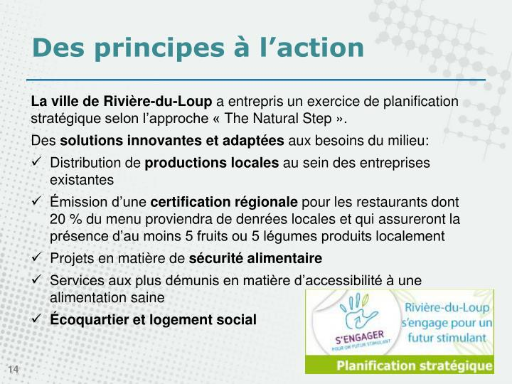 Des principes à l'action