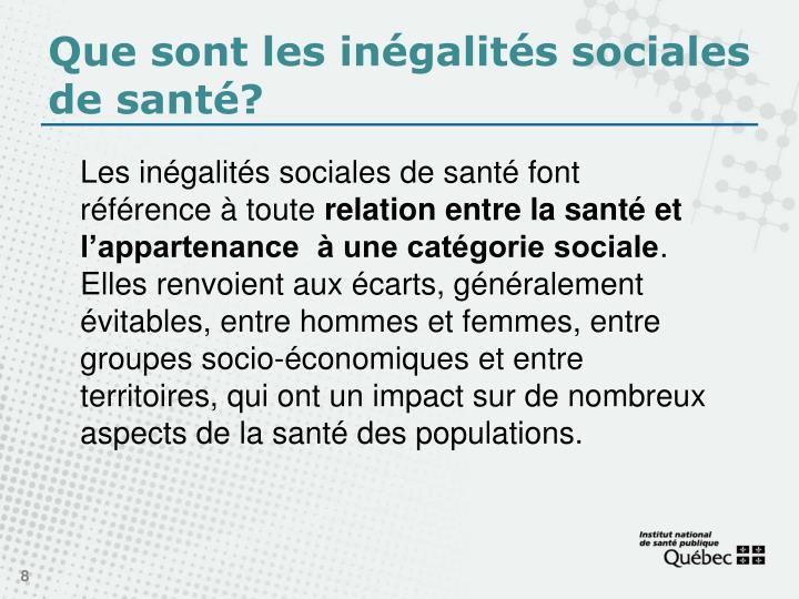 Que sont les inégalités sociales de santé?
