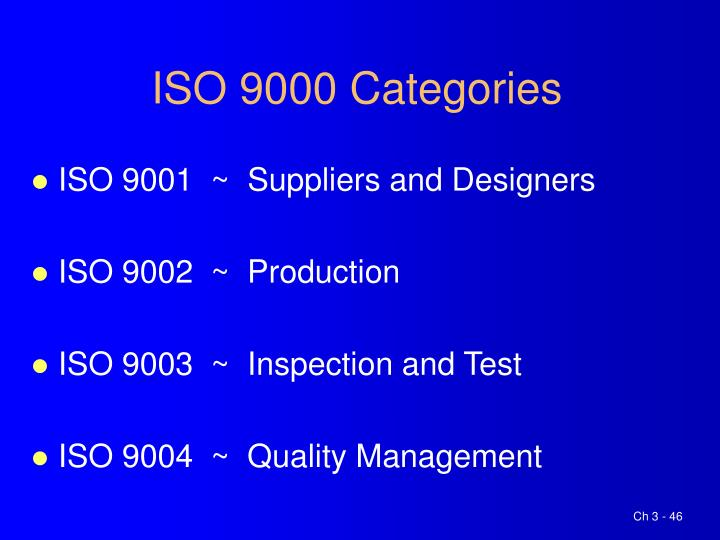 ISO 9000 Categories