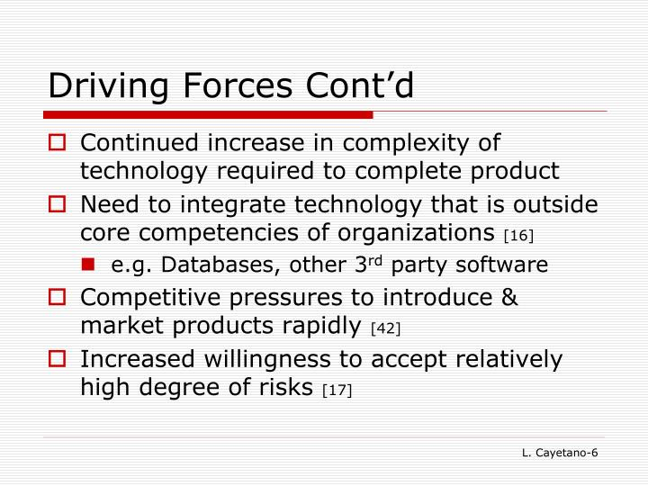 Driving Forces Cont'd