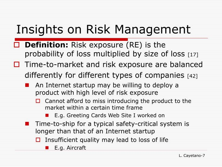 Insights on Risk Management