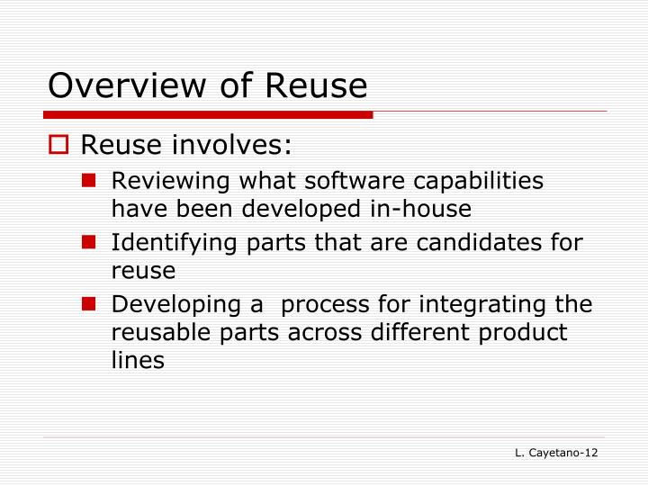 Overview of Reuse
